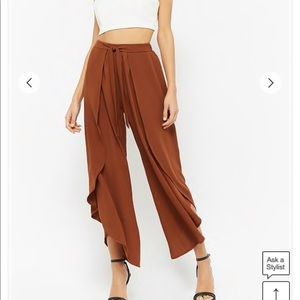 Black Cropped Flare Flowy Pants